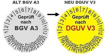 DGUV V3 BGV A3 Prüfplakette